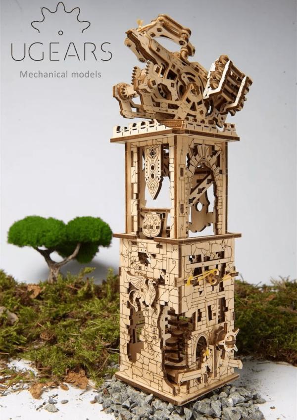 Arbalète + Tour Ugears – Puzzle 3D Mécanique