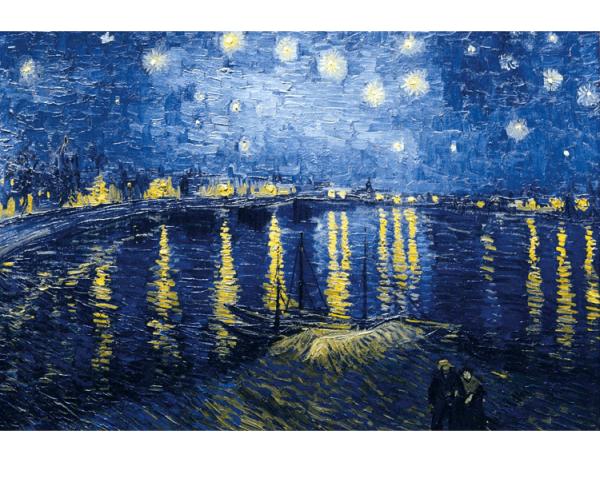 PUZZLE BOIS WILSON - V. VAN GOGH : Nuit étoilée sur le Rhône - 150 pièces