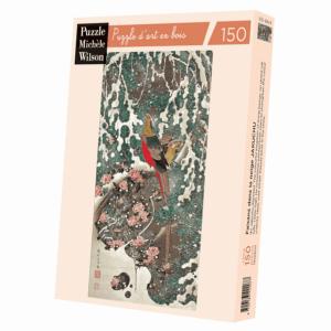 PUZZLE BOIS WILSON - I. JAKUCHU : Faisans dans la neige - 150 pièces