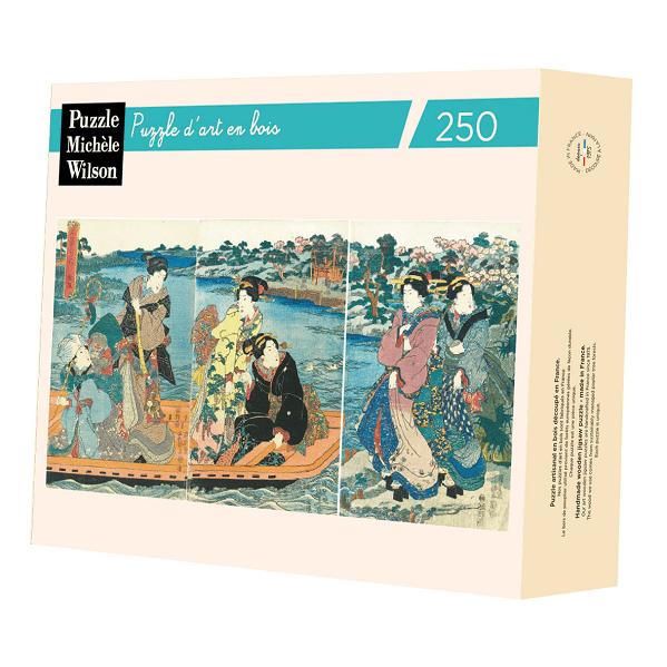 PUZZLE BOIS WILSON : U. KUNISADA : Beautés sur un bâteau - 250 pièces