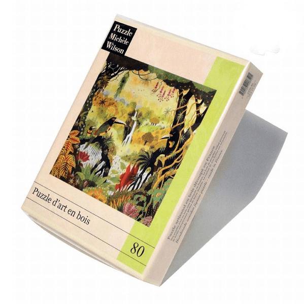 PUZZLE BOIS WILSON - A. THOMAS : Toucans à la cascade - 80 pièces